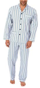 Klassischer Herren Flanell Pyjama langarm zum durchknöpfen - auch in Übergrössen - 61881, Farbe:blau, Größe:52