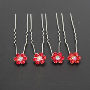 4 Haarnadeln mit Strass Blüten Design in diversen Farben Rot