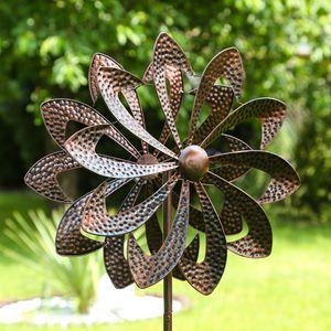 Doppel Windrad ANTIK - Gartendeko - Metall - Erdspieß - H: 140cm - kupferfarben