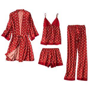 Frauen Satin Seide Pyjamas Strickjacke Nachthemd Bademantel Roben Unterwäsche Nachtwäsche Größe:M,Farbe:Kupfer