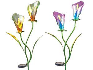 2er Set Solar Blütenstecker für den Garten Solar LED aus Metall 110 cm