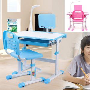 Blau Kinderschreibtisch Schülerschreibtisch Jugendschreibtisch Höhenverstellbar Mit LED Lampe