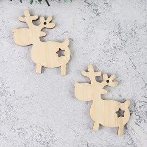 10pcs Holzausschnitte Anhänger Weihnachten Holz hängende