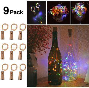 9 Stück Flaschenlicht LED Flaschen-Licht Lichterkette flaschenlichterkette korken LED Nacht Licht  (Multi-colored)