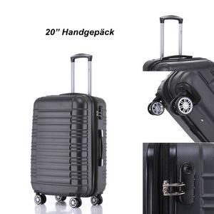Reise Koffer Hartschalenkoffer Trolley Reisekoffer M Schwarz 4 Rollen Roll-Koffer Handgepäck