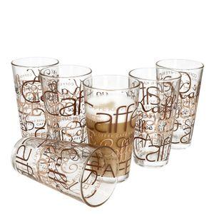 6er Latte Macchiato Gläser-Set 370 ml stapelbar Kaffee-Glas Cappuccino
