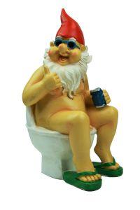 Nackter Zwerg auf der Toilette Klo Gartenzwerg  25,5cm Gross
