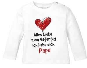 Baby Langarmshirt mit Spruch Alles Liebe zum Vatertag Geschenk Papa Vatertagsgeschenk Jungen Mädchen Shirt Moonworks® weiß 56/62 (1-3 Monate)