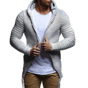 Herren neue Mode Herbst Freizeit einfarbig Kapuze Strickjacke mit Reißverschluss Größe:XL,Farbe:Grau