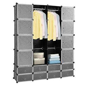 karpal 20 Wuerfel Weiss Regalsystem Kleiderschrank Kunststoff DIY Garderobenschrank mit Tueren Garderobe fuer Kinderzimmer Schlafzimmer einfach zu montieren