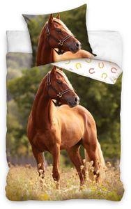 Pferde Bettwäsche 135x200 cm Pferd Haflinger braun Renforce Baumwolle Kinder