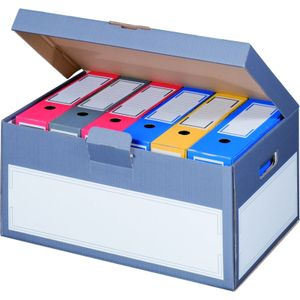 5 x Archivboxen Archivschachteln Ordnerkartons mit Klappdeckel in edlem Anthrazit
