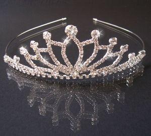 DIADEM Tiara Strass Silber Braut Schmuck Kopfschmuck Prinzessin Haarreifen Kommunion  H1210