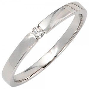 JOBO Damen Ring 585 Gold Weißgold 1 Diamant Brillant 0,05ct. Goldring Größe 52