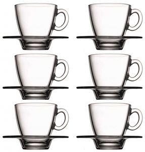 12tlg. Set Kaffeetassen / Teetassen mit Unterteller Aqua aus Glas
