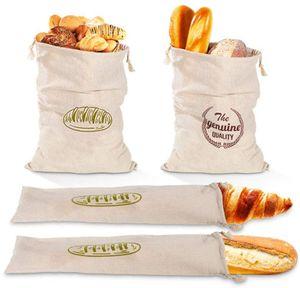 CYE 4 x Leinen-Brotbeutel, wiederverwendbar, mit Kordelzug, groß, ungebleicht, Beutel für Brot, Baguette, selbstgemachtes Brot und weitere Lebensmittel