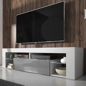 Selsey TV-Schrank BIANKO TV-Lowboard Weiß Matt/ Grau Hochglanz 140 cm