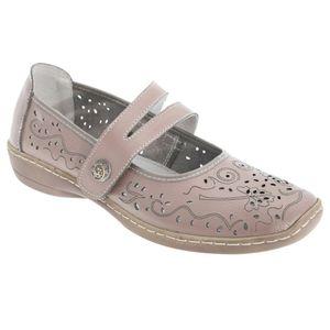 Boulevard Damen Sommer Leder-Schuhe mit Lochmuster DF413 (37 EU / 4UK) (Beige)