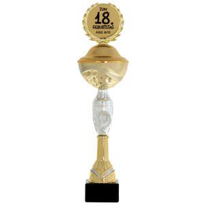 Pokal Geschenk zum 75. Geburtstag 31cm groß mit Zahl