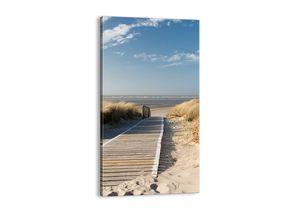 "Leinwandbild - 55x100 cm - ""Hinter der Düne, im Rascheln des Grases""- Wandbilder - Meer Strand Düne - Arttor - PA55x100-2657"