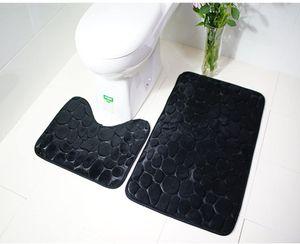 2 Stück rutschfeste Ständer Badematten Set atmungsaktivem Memory-Schaum Bad-Teppiche angenehm weiches Wasser saugfähig WC Badezimmer Teppich rutschfest Ständer Unterstützung (Schwarz)