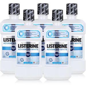 Listerine Advanced White 500ml - Für weißere Zähne in nur 2 Wochen (5er Pack)