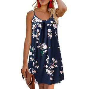 Mode Damen Casual V-Ausschnitt Halfter Printed Lose Knielange Kleider Größe:M,Farbe:Blau