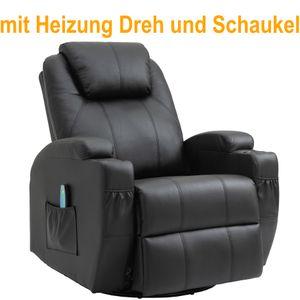 Massagesessel Fernsehsessel Relaxsessel TV Sessel mit Wärmefunktion Liegefunktion, 360° drehbar, Schwarz