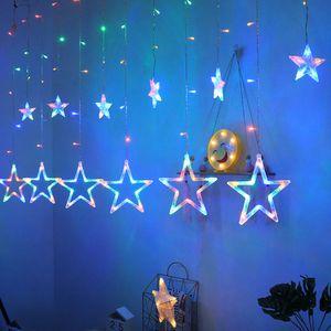 Lumiereholic 138 LED Lichterkette Sterne Weihnachten Beleuchtung Sternenvorhang Lichterschlauch Lichtschlauch Weihnachtsbaum Deko USB Batteriebetrieben Innen Außen RGB Bunt