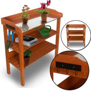 Pflanztisch Classic mit verzinkter Metall Arbeitsplatte  - wetterfester Gartentisch aus imprägniertem Holz - Gärtnertisch mit Schublade und 2 Haken