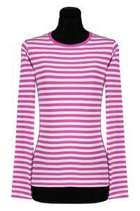 T2976-1102-S pink-weiß Damen Langarm tailliert Ringelshirt Gr.S=38