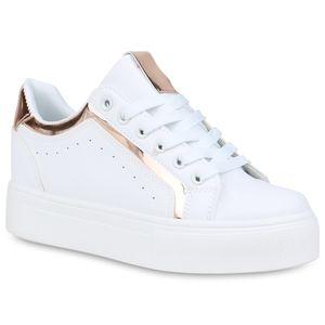Mytrendshoe Damen Plateau Sneaker Plateauschuhe Schnürer Metallic 833720, Farbe: Weiß Rose Gold Metallic, Größe: 39