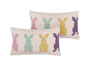 Dekokissen Mehrfarbig 30 x 50 cm Baumwolle/Polyster 2er Set Mit Füllung Kaninchenmotiv Kinderkissen Wohnzimmer Schlafzimmer Rechteckig Modernes Design