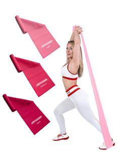 ActiveVikings Girls Set Fitnessbänder Set 3-Stärken 1,2m Länge Ideal für Muskelaufbau Physiotherapie Pilates Yoga Gymnastik und Crossfit   Fitnessband Gymnastikband Widerstandsbänder