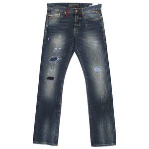 18422 Replay, Waitom Regular Slim,  Herren Jeans Hose, Denim, blue destroyed, W 30 L 34