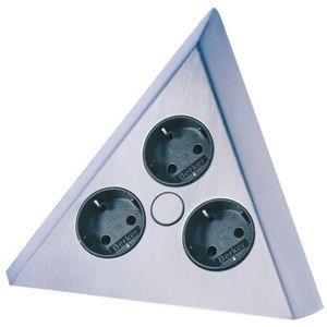 Pyramiden Steckdose 3er Edelstahloptik