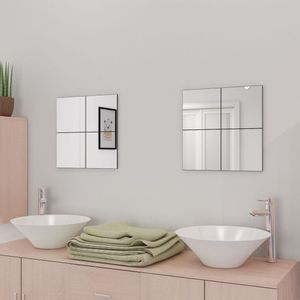 Rahmenlose Spiegelfliesen Glas 16 Stk. 20,5 cm