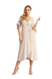 Kleid 3/4 Arm Abendkleid mit V-Ausschnitt Cocktailkleid lang,  Beige L/XL