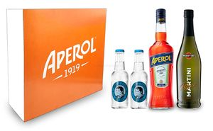 Aperol Spritz Geschenkset - Aperol Aperitivo Italiano 1L (11% Vol) + Prosecco 0,7L (10,5% Vol) + 2x Thomas Henry Soda Water 0,2L (inkl. Pfand MEHRWEG) + Aperol Giftbox - [Enthält Sulfite]