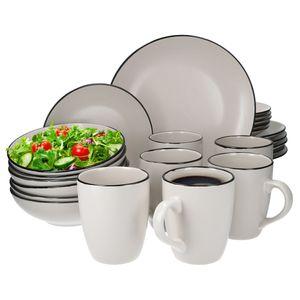 24tlg. Geschirrset Campo creme 6 Pers. Kaffeebecher Suppenteller Kuchenteller Speiseteller