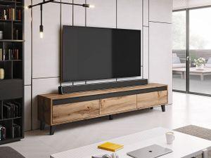 Mirjan24 TV-Lowboard Nord, Stilvoll TV-Schrank, Wohnzimmer, TV-Tisch mit drei Schubladen (Farbe: Wotan Eiche / Wotan Eiche + Anthrazit)