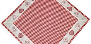 """Tisch-Mitteldecke """"Kempten"""" 85 x 85 cm Rot - pflegeleichte Decke im Landhaus-Stil mit Vichy-Karo und Herz Stickerei"""