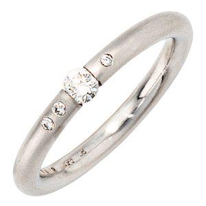 JOBO Damen Ring 950 Platin 4 Diamanten Brillanten 0,20ct. Größe 58