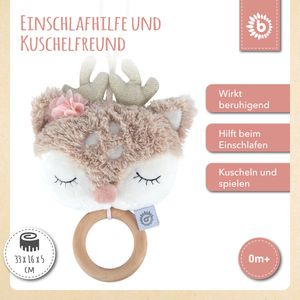 Bieco Musikspieluhr Reh | ca. 30 cm | Baby Spieluhr | Einschlafhilfe Babys | Baby Musik | Spieluhr Baby | Baby Schlaf | Kuscheltiere für Babys | Einschlafhilfe Kinder | Baby Spielzeug ab 0 Monate