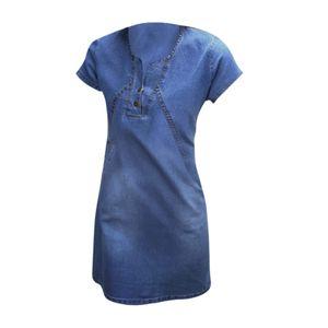 V-ausschnitt Denim Kleid für Frauen Slim Fit Kurzarm Slim Fit Casual Rock für Party Reise Täglich Tragen Dunkelblau M.