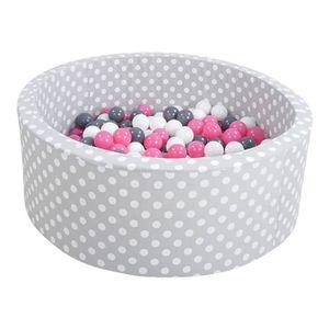 """Knorrtoys Bällebad soft - """"Grey white dots"""" - 300 balls creme/grey/rose"""