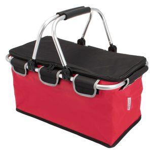 bremermann Einkaufskorb, faltbar, mit Aluminiumrahmen und weich ummanteltem Griff sowie Reflektoren, rot