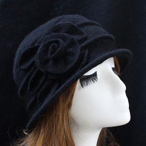 Vintage Frauen Wolle Kirche Cloche Flapper Hut Lady Bucket Winter Flower Cap, schwarz