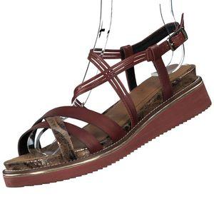 TAMARIS Damen Leder Sandalen Rot, Schuhgröße:EUR 37