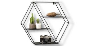 LIFA LIVING Hexagon Wandregal aus Metall mit 4 Böden, Schwarzes  Gewürzregal mit 4 Etagen, Industrie Hängeregal, 58 x 51 x 11 cm